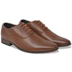 shumee Elegantni moški čevlji z vezalkami rjavi velikost 41 PU usnje