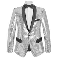 Greatstore Pánské flitrové smokingové sako stříbrné vel. 46