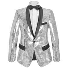 Greatstore Pánské flitrové smokingové sako stříbrné vel. 50