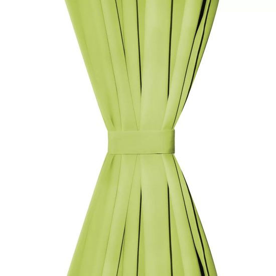 shumee Zasłony z mikrosatyny, 2 szt., z pętelkami, 140x175 cm, zielone