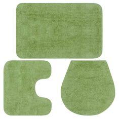 shumee Sada látkových kúpeľňových podložiek 3 ks zelená