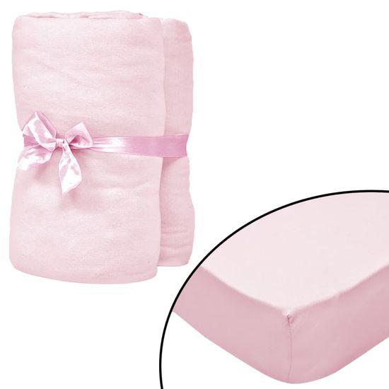 shumee Prześcieradła z gumką do łóżeczka, 4 szt., 70 x 140 cm, różowe