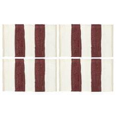 shumee Maty na stół, 4 szt, Chindi, paski, burgundowo-białe, 30x45 cm