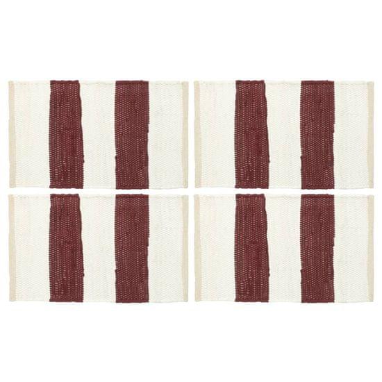 shumee 4 db fehér-burgundi vörös csíkos pamut tányéralátét 30 x 45 cm