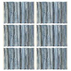 shumee Maty na stół, 6 szt, Chindi, niebieski dżins, 30x45 cm, bawełna