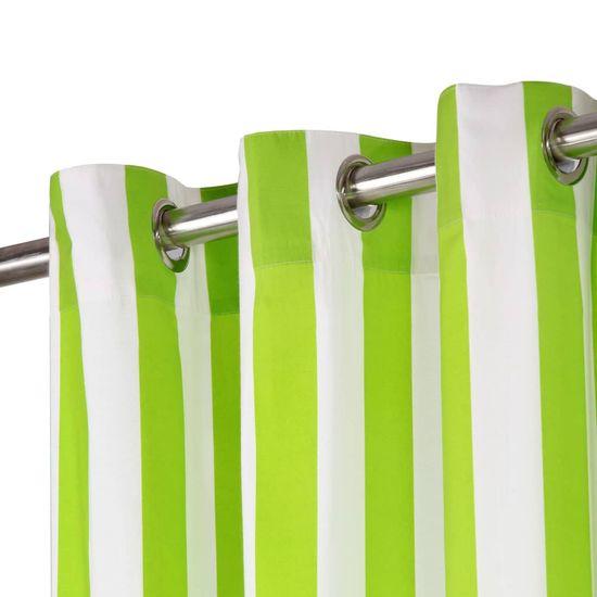 shumee Zavese s kovinskimi obročki 2 kosa blago 140x175 cm zelene črte