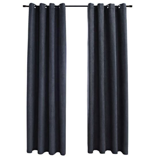 shumee 2 db antracitszürke sötétítőfüggöny fémgyűrűkkel 140 x 175 cm