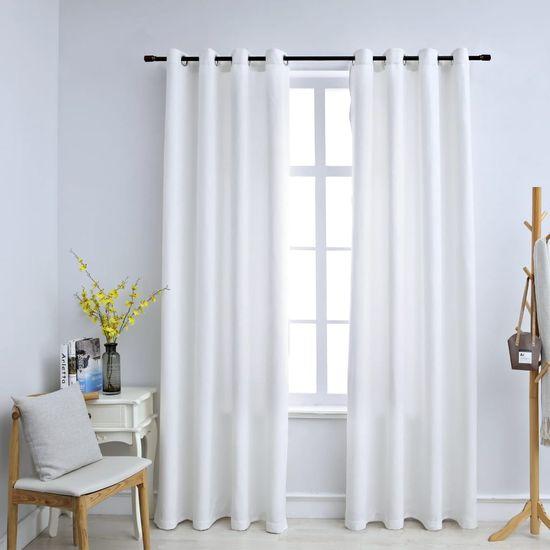 Greatstore Zatemnitvene zavese z obročki 2 kosa umazano bele 140x225 cm
