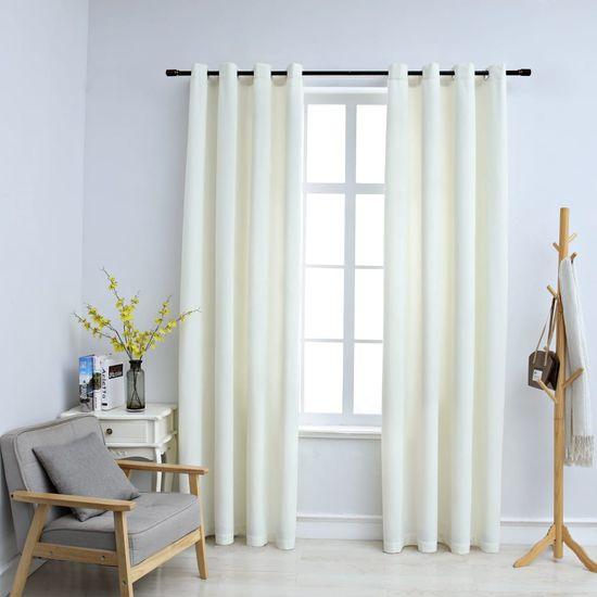 shumee Zatemnitvene zavese z obročki 2 kosa žamet krem 140x225 cm