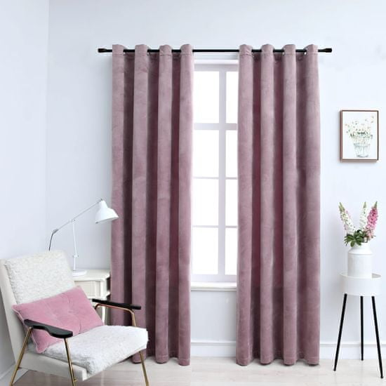 shumee Zatemnitvene zavese z obročki 2 kosa žamet roza 140x175 cm