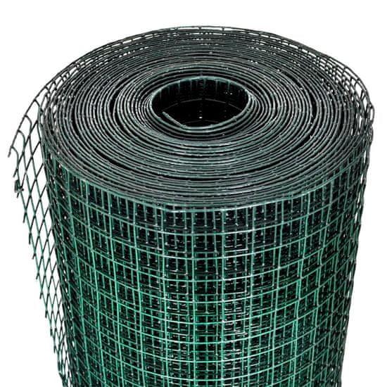 shumee Žična ograja pocinkana s PVC oblogo 25x1 m zelena