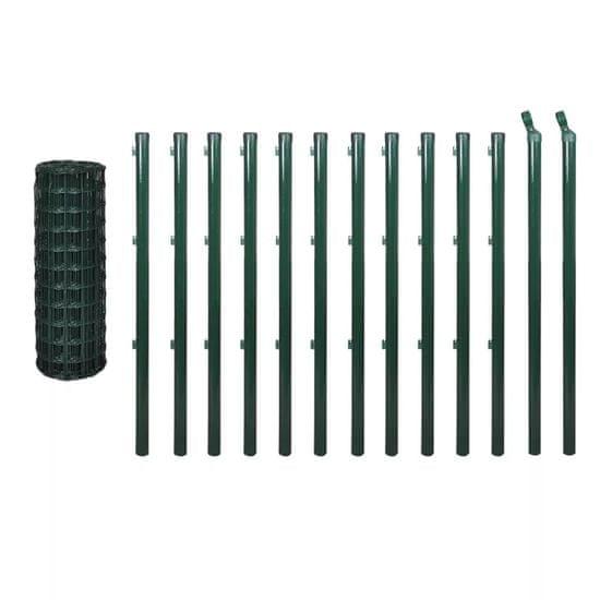 Greatstore Euro plot, oceľ 25x1,2 m, zelený
