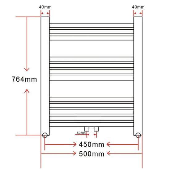 shumee Kopalniški cevni radiator za centralno ogrevanje raven 500x764 mm