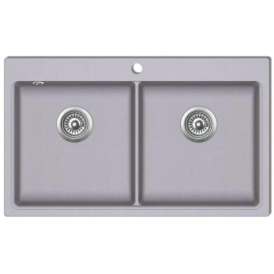 shumee Granitno dvojno kuhinjsko korito sive barve