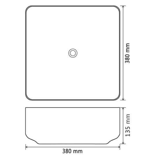 shumee négyzet alakú, fekete kerámia mosdókagyló 38 x 38 x 13,5 cm