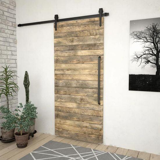 Greatstore Kovanie na posuvné dvere 183 cm, oceľ, čierne
