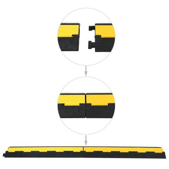 shumee Kabelové ochranné mosty 4 ks 2 kanálky gumové 101,5 cm