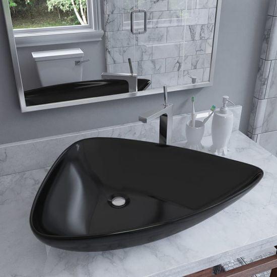 shumee háromszög alakú fekete kerámia mosdó 645x455x115 mm