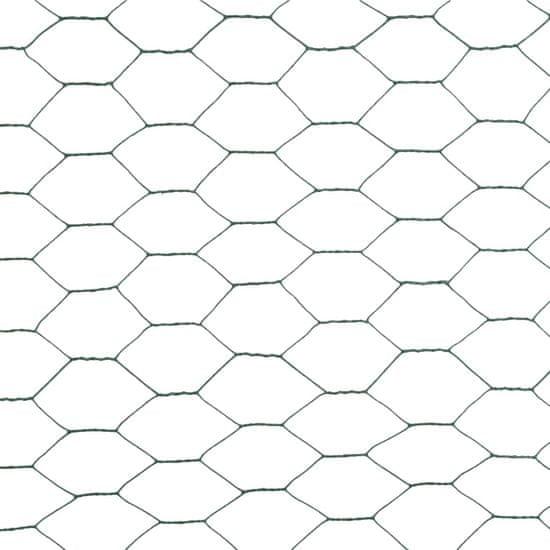 Greatstore Žična mreža za ograjo jeklo s PVC oblogo 25x1,5 m zelena