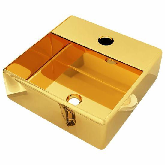 shumee Umywalka z otworem na baterię, 38x30x11,5 cm, ceramiczna, złota