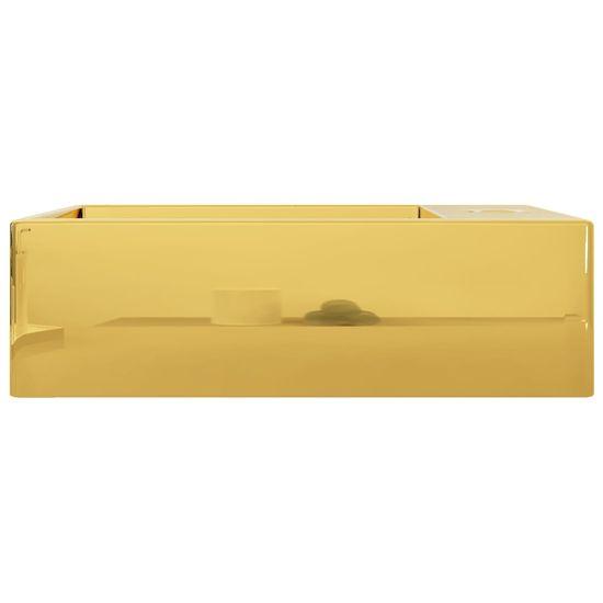 Greatstore Umivalnik z odprtino za odtekanje 49x25x15 cm keramičen zlat