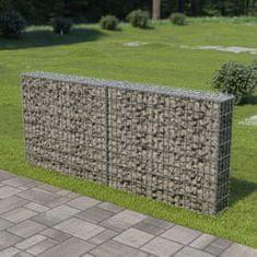 Vidaxl Gabionová zeď s víky z pozinkované oceli 200 x 20 x 85 cm