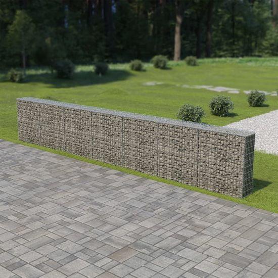 shumee Ściana gabionowa z pokrywami, galwanizowana stal, 600x30x100 cm