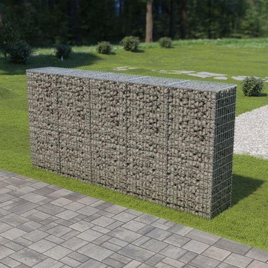 shumee Ściana gabionowa z pokrywami, galwanizowana stal, 300x50x150 cm