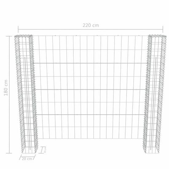 shumee Gabionska ograja z 2 stebričkoma jeklo in PVC 180x180 cm