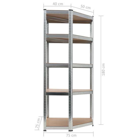 shumee Regał magazynowy, srebrny, 75x75x180 cm, stal i MDF