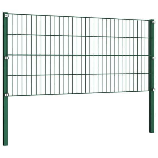 shumee Panel ogrodzeniowy ze słupkami, żelazny, 8,5 x 0,8 m, zielony
