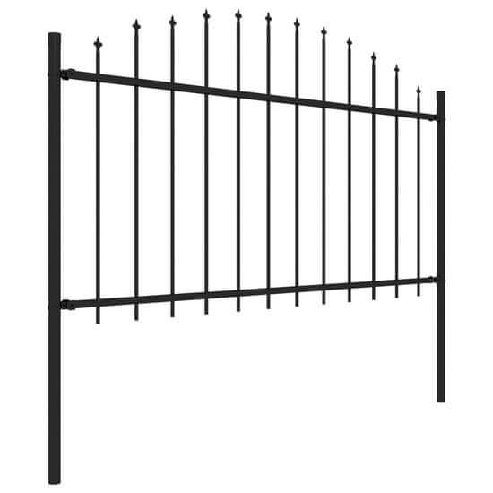 shumee Panele ogrodzeniowe z grotami, stal, (1,25-1,5) x 15,3 m, czarne