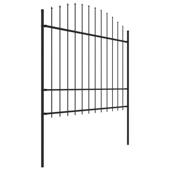 shumee Panele ogrodzeniowe z grotami, stal, (1,5-1,75)x10,2 m, czarne