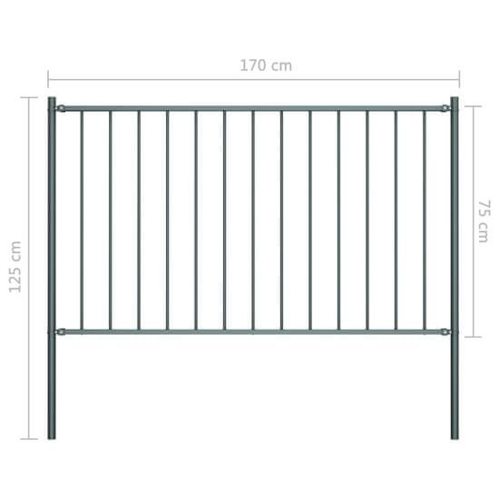 shumee Panel ogrodzeniowy ze słupkami, kryta proszkowo stal, 1,7x0,75m