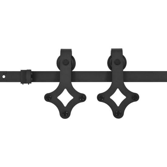 shumee fekete acél tolóajtó fémszerelék készlet 200 cm