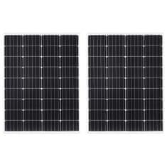 shumee Solárne panely 2 ks hliník a bezpečnostné sklo 100 W monokryštalický