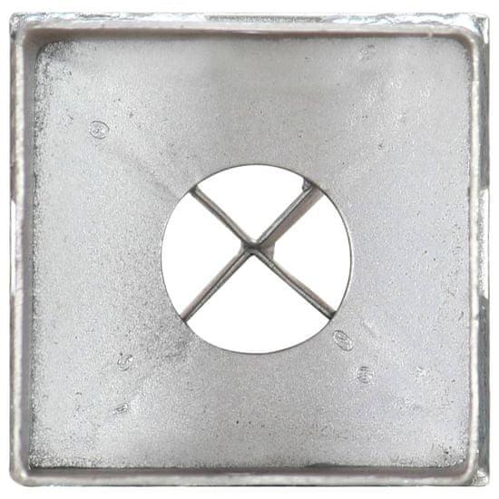 shumee Kołki gruntowe, 2 szt., srebrne, 8x8x76 cm, stal galwanizowana