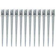 Kotvící hroty 12 ks stříbrné 8 x 8 x 91 cm pozinkovaná ocel