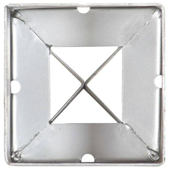 shumee 2 db ezüstszínű horganyzott acél kerítéstüske 9 x 9 x 75 cm