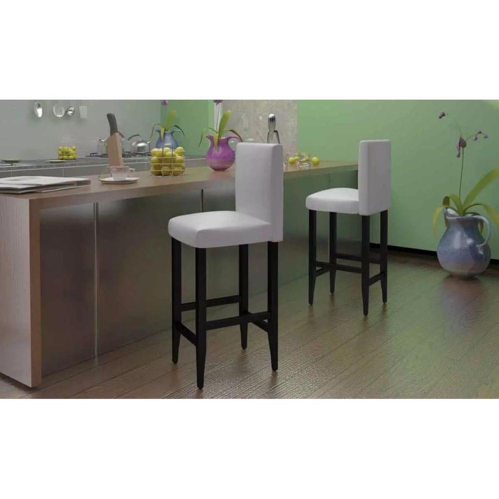 Barové stoličky 4 ks bílé umělá kůže
