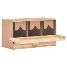 shumee Hniezdo pre sliepky 3 priehradky 72x33x38 cm masívne borovicové drevo
