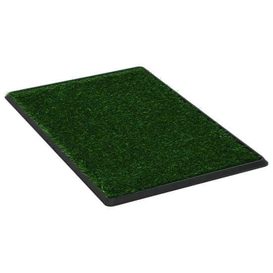 Greatstore Stranišče za domače živali z umetno travo zeleno 76x51x3 cm WC