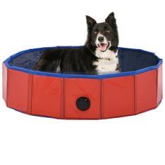 shumee Zložljiv bazen za pse rdeč 80x20 cm PVC