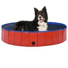 shumee Zložljiv bazen za pse rdeč 160x30 cm PVC