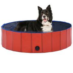 shumee Zložljiv bazen za pse rdeč 120x30 cm PVC