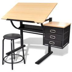 shumee Stôl na kreslenie so sklopnou doskou a stoličkou