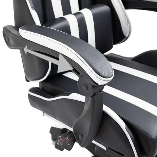 shumee Fotel dla gracza z podnóżkiem, biały, sztuczna skóra