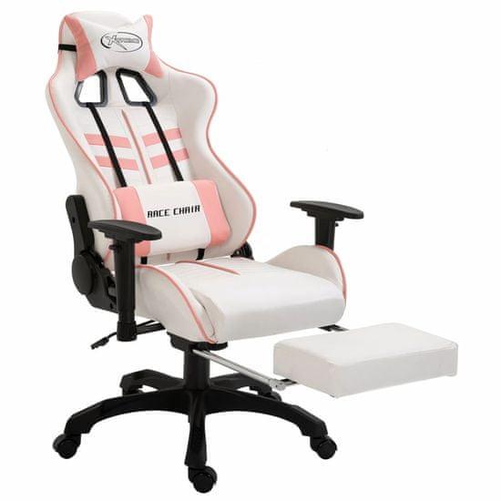 shumee Herná stolička s opierkou na nohy, ružová, umelá koža