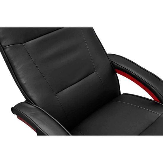 shumee Masažni stol s stolčkom za noge črno umetno usnje
