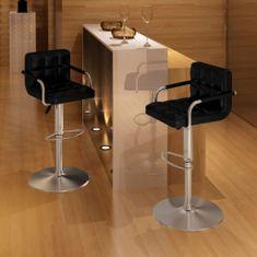 shumee Barové stoličky 2 ks, čierne, umelá koža